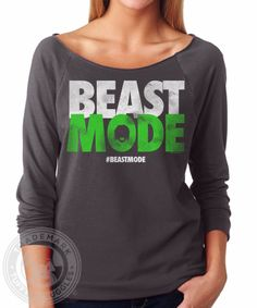 BEAST MODE Seattle Seahawks 12th man   French Terry Raw Edge Raglan T Shirt  a483397dd