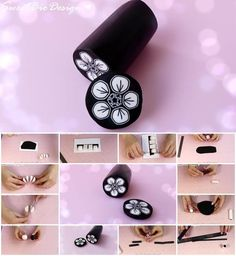 How to Make Polymer Clay Cane Black and White Flower