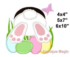 Easter Bunny Eggs Machine Applique Design Embroidery Pattern for Face Masks or Others 4x4 5x7 6x10 INSTANT DOWNLOAD by AppliqueMagic on Etsy Machine Applique Designs, Machine Embroidery Patterns, Easter Bunny Eggs, Different Types Of Fabric, Bunny Face, W 6, Color Change, Printing On Fabric, Face Masks