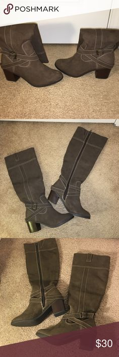 Knee High Booties New with box never worn. Very comfy, 2 inch heel new directions Shoes Heeled Boots