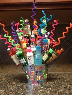 Katherine's birthday present my husband and I made her! 21 bottles of fun! Katherine's birthday present my husband and I made her! 21 bottles of fun! 21st Birthday Basket, Guys 21st Birthday, 21st Birthday Presents, 21st Bday Ideas, Birthday Gift Baskets, 21st Gifts, Birthday Gifts For Boyfriend, 21 Birthday, Alcohol Gift Baskets
