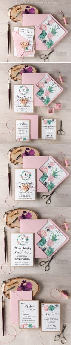 Wedding Invitations full of Succulents - Pink, White, Eco with Floral Wreath #weddinginvitations #Succulents #floral #summerwedding