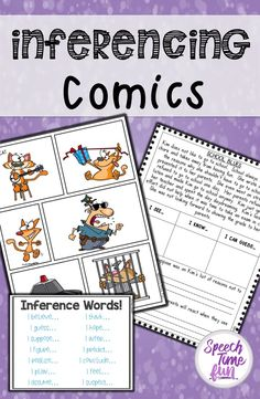 Inferencing Comics: A fun way to work on inferencing in speech and language therapy. Keep students motivated and engaged! 15 stories, graphic organizers, and tons of fun! Inference Activities, Speech Therapy Activities, Language Activities, Articulation Activities, Reading Activities, Toddler Activities, Speech Language Pathology, Speech And Language, Language Arts