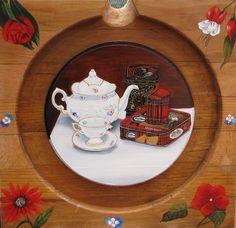 MEMORY   stilleven in olieverf op oude beuken wijnpers bodem, het servies is van m'n moeder en het koekdoosje uit Schotland, de vergeet me nietjes  spreken voor zich. herinneringen