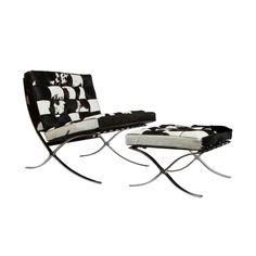 Catalan Chair & Ottoman Set in Black & White Hide   dotandbo.com