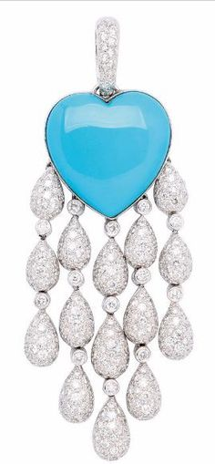 RosamariaGFrangini | HighJewellery Classic | TJS | A Turquoise and Diamond Pendant, Of tassel design, featuring a heart-shaped turquoise suspending a chandelier fringe of pave-set diamond drops between round diamond bezels, mounted in 18k white gold