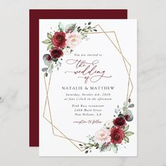 Invite friends and family in style and set the tone for your special day with this charming wedding invitation! #printable #wedding #reception #invitations #weddinginvitations #weddingstationery #SHdesigns Wedding Invitation Background, Burgundy Wedding Invitations, Flower Invitation, Floral Wedding Invitations, Wedding Stationery, Reception Invitations, Gold And Burgundy Wedding, Red And White Weddings, Wedding Borders