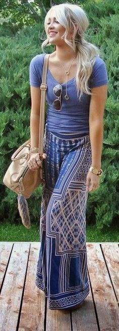 Bohemian look - wide leg pant.  Not sure about the wide leg pant.  I think I would opt for a skirt