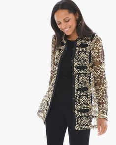 "Never cease to amaze. This sheer button-up jacket displays a stellar attention to detail with a gold-tone pattern of abstract florals.    Custom-colored to match our wrinkle-free Travelers™ Classics.  Long sleeves.  Regular Length: 29"".  Petite Length: 27"".  Button closure.  Polyester.  Hand wash. Imported."