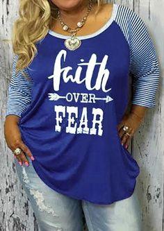 #Fairy Season - #Plus Plus Size Faith Over Fear Baseball T-Shirt without Necklace - AdoreWe.com
