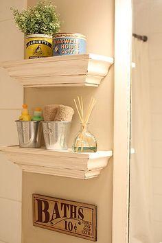 small shelves for bathroom Small Shelves, Floating Shelves, Bathroom Shelf Decor, Bathroom Ideas, Bathroom Stuff, Bathroom Storage, Small Bathroom, Master Bathroom, Kids Bedroom Paint
