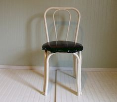 Vintage Mod Black & White Metal Cafe Chair  Chippy by DivineOrders, $45.00
