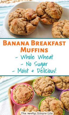 We make these healthy banana muffins every week! They are breakfast on the go snack dessert. They are easy moist and yummy! Made with applesauce whole wheat flour and no sugar. Great for kids or for weightloss - 100 calorie snacks! Banana Breakfast Muffins, Breakfast And Brunch, Healthy Banana Muffins, Banana Muffins No Sugar, Breakfast Recipes, 100 Calories, Healthy Foods To Eat, Healthy Drinks, Healthy Recipes