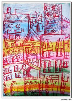 My City - grader, girl, 8 years old. Poster colors & oil pastels on drawing paper. 2nd Grade Art, Kids Watercolor, Jr Art, Ecole Art, Cool Art Projects, Art Lessons Elementary, Pastel Art, Art Classroom, Art Plastique