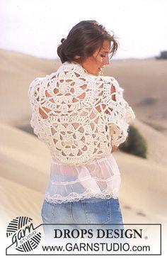 DROPS Bolero crochet in Eskimo ~ crochet pattern Crochet Bolero Pattern, Crochet Motif, Free Crochet, Hand Crochet, Crochet Jacket, Crochet Poncho, Crochet Granny, Crochet Scarves, Crochet Crafts