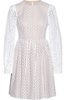 Michael Kors Broderie anglaise cotton mini dress | NET-A-PORTER