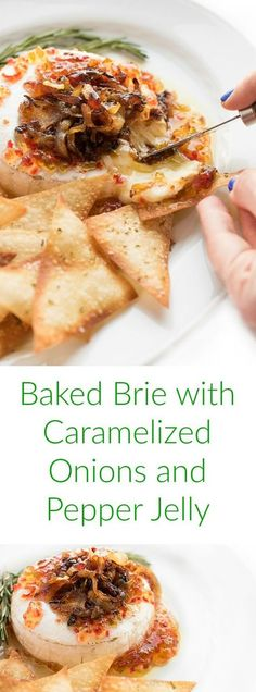An easy appetizer recipe for entertaining, brie is topped with caramelized onions and pepper jelly before baked until warm and creamy.