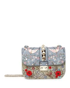 L0M6P Valentino Small Rockstud Embroidered Leather Shoulder Bag