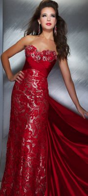 Mac Duggal Prom 2013 - Strapless Red & Nude Silk Gown With See Through Paisley Design