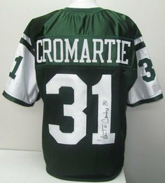 Antonio Cromartie Signed New York Jets Green Custom Jersey JSA . $199.00. Featured is a SIGNED Antonio Cromartie New York Jets Green Custom Jersey. The jersey was hand signed by Cromartie and includes a JSA Hologram and Certificate of Authenticity. The jersey features sewn name and numbers, the jersey size is Large. Antonio Cromartie is an American football cornerback for the New York Jets. He was drafted by the San Diego Chargers 19th overall in the 2006 NFL ...