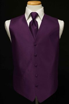 Tuxedo Vest & Tie - Herringbone - Plum   eBay> for Bri