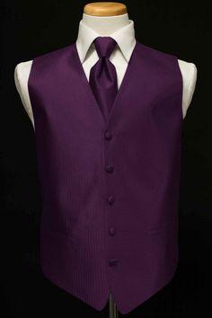 Tuxedo Vest & Tie - Herringbone - Plum | eBay> for Bri I am really debating the green and plum.....