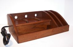 Charging Station/Docking Station with Power Strip in Cherry for iPad, Kindle, Nook, iPhone, cell phone by tomroche on Etsy