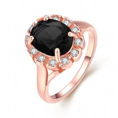 18-Karat Rose Gold Midnight Black CZ Stone Ring Swarovski Elements