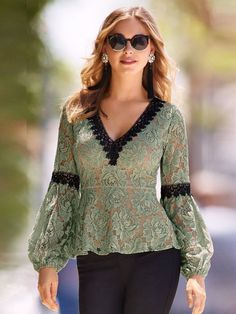 V-neck Lace Top Boston Proper fashions~ A black embroidered v neckline and arm bands add color contrast to our figure-flattering peplum knit top cut from feminine lace with long sheer bell sleeves and elastic cuffs. Kurta Designs, Blouse Designs, Blouse Dress, Lace Dress, Lace Peplum, Sleeves Designs For Dresses, Lace Knitting, Sewing Lace, Knitting Ideas