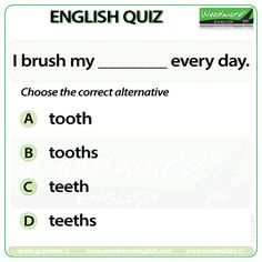 Woodward English Quiz 12 More details about Regular and Irregular Plural Nouns… English Quiz, English Study, English Lessons, Learn English, English Grammar Rules, Grammar And Vocabulary, English Language, Language Arts, English Teaching Materials