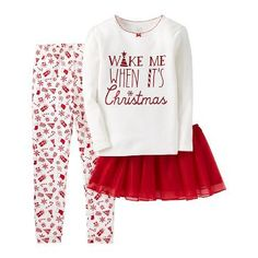 Toddler Girls' 3-Piece Christmas Cotton Pajama Set with Tutu - Red & White - Just One You™Made by Carter's®