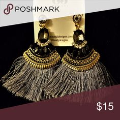 JUST IN  🆕New Gray/Silver Tassel Crystal Earrings Gray and Black Tassel Earrings Material content: gold plated base metals, crystals, thread Made in China  Fashion Earrings that will look amazingly beautiful for any occasion ❤ T&J Designs Jewelry Earrings