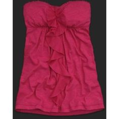 Strapless ruffle top Gently worn ruffle blouse in white. Great for summer nights! I typically wear as a long tunic over dark washed jeans. Very loose and stretchy material. Shown in pink but only available in white. Abercrombie & Fitch Tops