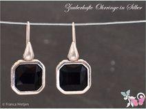 Art Deco Vintage Ohrhänger eckig silber schwarz
