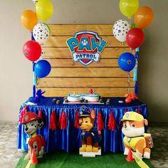 Paw Patrol cake table set up