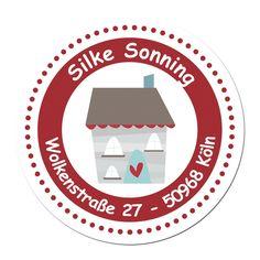 24 individuelle Adressaufkleber - Motiv dunkelrotes Haus (Set 3) - Etiketten Sticker