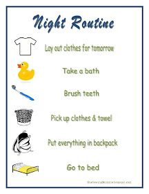 One Sewing Mommie: Schools In: Night and Morning Routine Printables