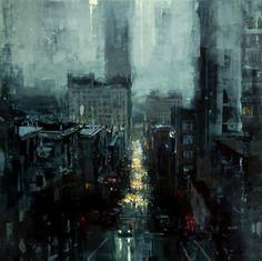 Jeremy Mann - The City Tempest, 2013 [Oil on Panel]