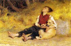 Briton Rivière (1840-1920) His Only Friend (1871)