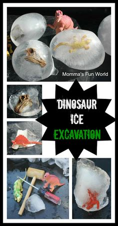 Dinosaur Ice Excavation....great fun for a hot day. Along with working eye hand coordination and fine motor skills