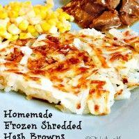 Homemade Frozen Shredded  Hash Browns recipe is great for breakfast or dinner!