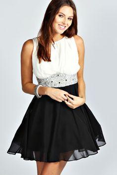 Amy Flower Detail Contrast Prom Dress
