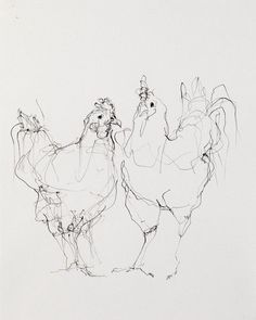 """Chickens (Two)"" Artist: Susan Siegel x Sumi Ink on Paper 2012 Animal Sketches, Animal Drawings, Art Drawings, Paintings I Love, Animal Paintings, Illustration Sketches, Drawing Sketches, Sketching, Hahn Tattoo"