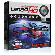 UDI U818A-HD RC Quadcopter Camera Drone UFO 4CH 6-Axis Gyro Remote Control Drone 2.4ghz w/HD Camera w/Return Home  Headless  360 Flips w/4GB card (3)Drone Battery Dual Battery Charger Extra Blades >>> You can get additional details at the image link.