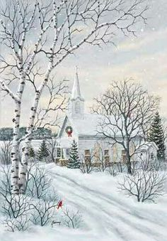 A church at Christmas time