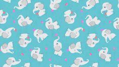 Elephants Blue - Cotton