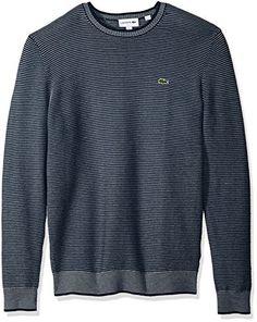 3d045123d6c Lacoste Men s Long Sleeve Mille-Raye Ottoman Sweater