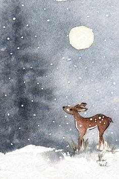 Christmas Paintings, Christmas Art, Watercolor Animals, Watercolor Paintings, Watercolors, Winter Drawings, Watercolor Christmas Cards, Deer Art, Winter Painting