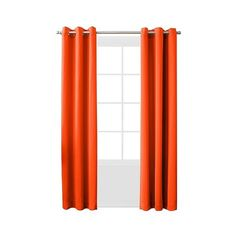 "Sun Zero Lazlo Room Darkening Grommet Curtain Panel \""  \"" Tangerine ($15) ❤ liked on Polyvore featuring home, home decor, window treatments, curtains, orange, grommet window panels, orange grommet curtains, grommet drapery panels, grommet valance and target curtains"
