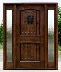Rustic Enxterior Door with rain glass sidelights